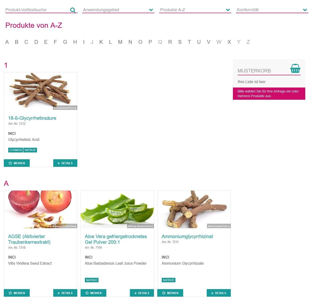 Produkteliste mit Bild